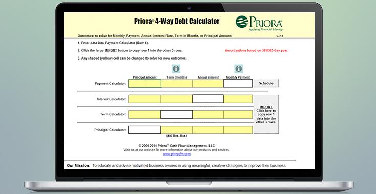 4 Way Debt Calculator   Priora® Cash Flow Management, LLC.